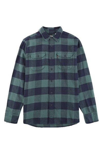 Erkek Yeşil Gömlek Classic Flap Pockets 19587-0133