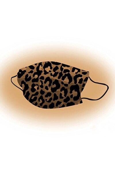 30 Adet Leopar Desenli 3 Katlı Meltblownlu Ultrasonik Burun Telli Unisex Yüz Maskesi