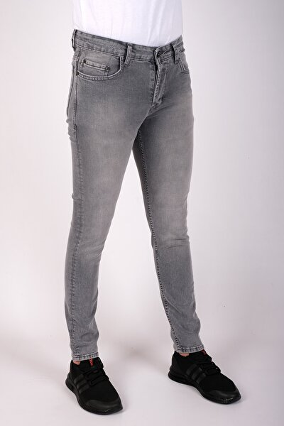 Erkek Slim Fit Dar Kesim Kot Pantolon Açık Gri