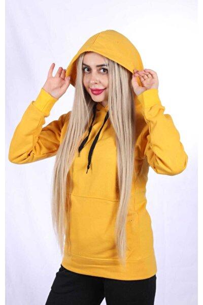 Unisex Sarı Kapşonlu Sweatshirt