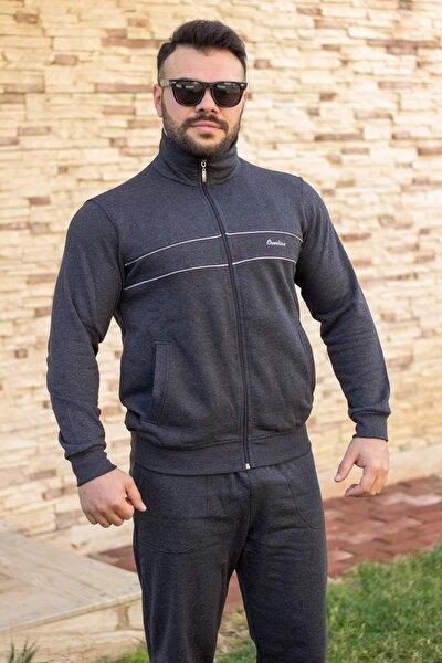 Erkek Antrasit Dik Yaka Nakış Detaylı Rahat Kalıp Fermuarlı Eşofman Takımı 21EESTBBKT