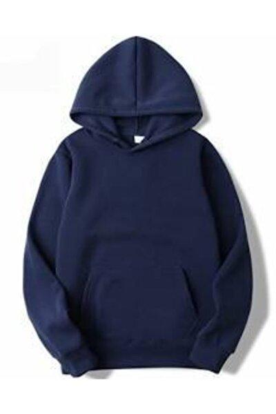 Unisex Lacivert Kapüşonlu Kangru Cep Oversize Sweatshirt