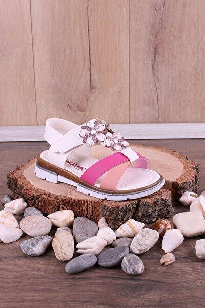 Kız Çocuk Beyaz Ortopedik Çiçek Süslemeli Sandalet