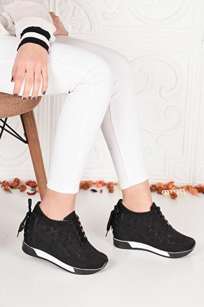 Kadın Siyah Yüksek Taban Gizli Topuk Spor Ayakkabı Ba20180