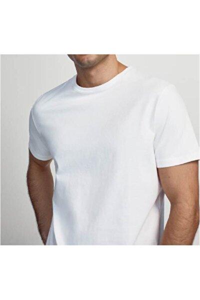 Erkek Beyaz Basic Pamuklu Kısa Kollu Bisiklet Yaka Casual Fit T-shirt