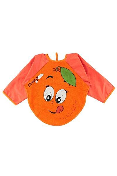 Portakal Motif Kollu Bebek Mama Önlüğü