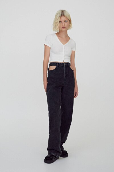 Kadın Siyah Straight Fit Süper Yüksek Bel Jean