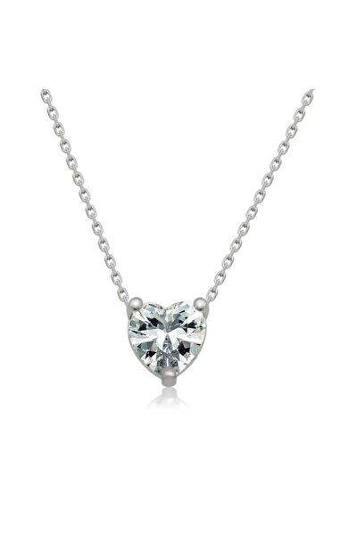 Kadın Beyaz Gümüş Kalpli Kolye T4195