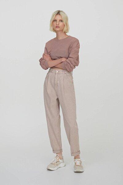 Kadın Pudra Slim Fit Slouchy Pantolon