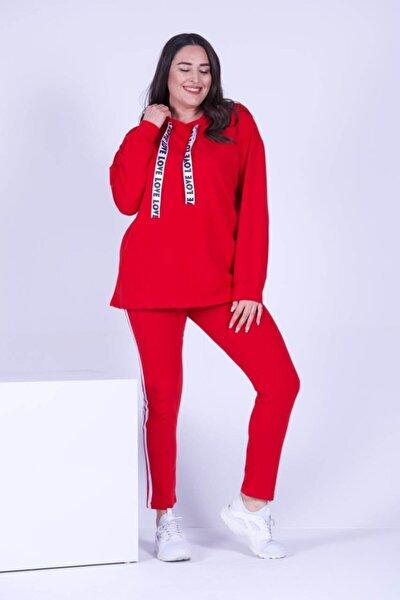 Kadın Kırmızı Kapüşonlu Eşofman Takımı