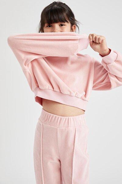 Kız Çocuk Crop Kadife Sweatshirt