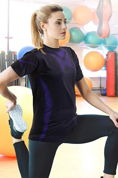 Kadın Siyah Seamless Spor Tişört