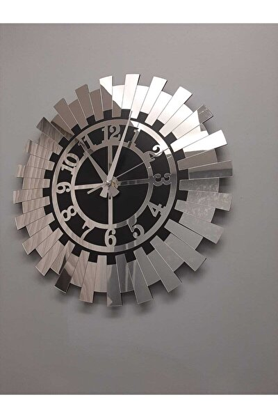 Büyük Dekoratif Gümüş Güneş Duvar Saati Modern Türk Rakamlı Mdf Üzeri Aynalı Pleksi 60x60 Cm