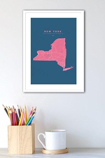 New York Map Çerçeveli Modern Poster Harita Tablo
