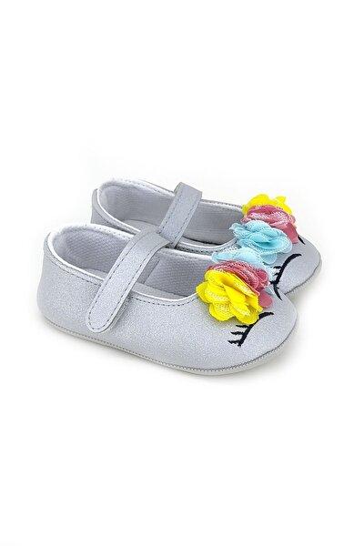 Kız Bebek Gümüş Çiçekli Cırtlı Ayakkabı