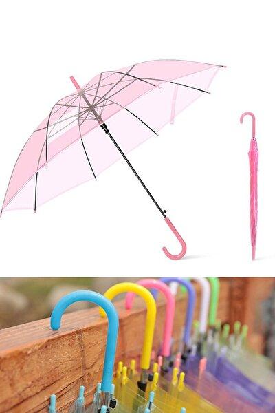 Renkli Şeffaf Şemsiye Kırmızı