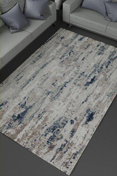 Beyaz Mavi Kaymaz Taban Dekoratif Baskılı Halı Kilim Deri Taban Modern Vintage Kaydırmaz Halı