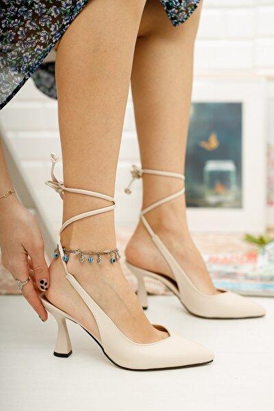 Kadın Merlin Bağcık Detaylı Sivri Burun Mat Deri Ten Topuklu Ayakkabı