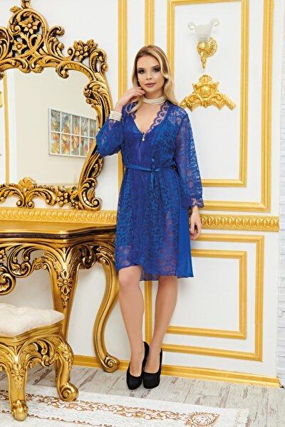 Real Passione Kadın Mavi Saten Dantelli Fantezi Gecelik Sabahlık Üçlü Takım