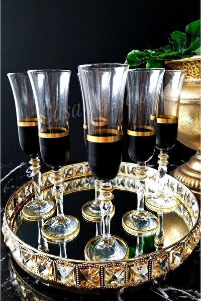 Siyah 6 Kişilik Şampanya Flüt Kadeh