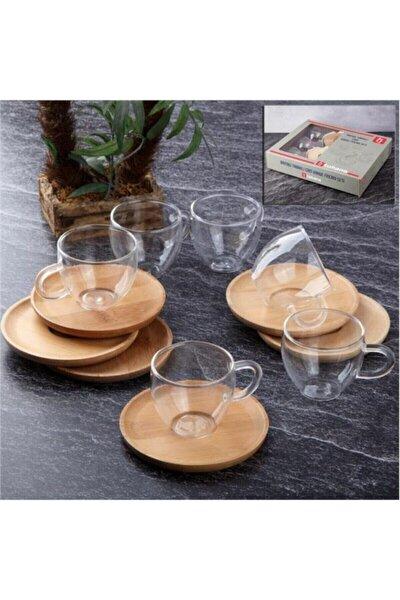 Bambu Tabaklı Cam Kahve Fincanı Takımı 6 Kişilik