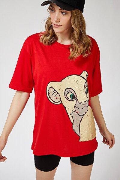 Kadın Kırmızı Baskılı Oversize Uzun T-shirt ZV00065