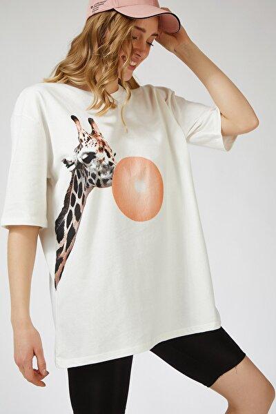 Kadın Ekru Baskılı Oversize Uzun  T-shirt ZV00089