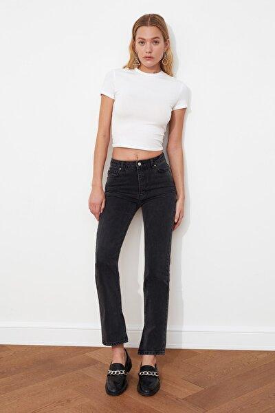 Siyah Yüksek Bel Dar Straight Jeans TWOSS21JE0036