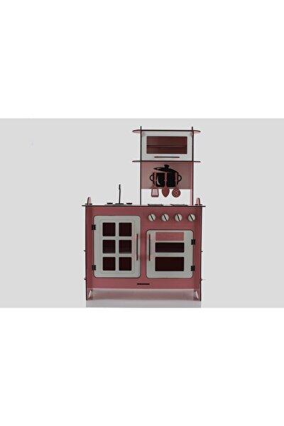 105 Cm Pembe Renk Ahşap Mutfak Oyuncak Oyun Seti Montessori (by001)
