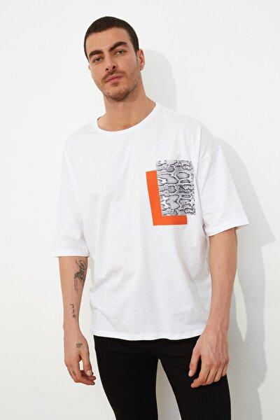 Beyaz Erkek Oversize Kısa Kollu Baskılı T-Shirt TMNSS21TS0149