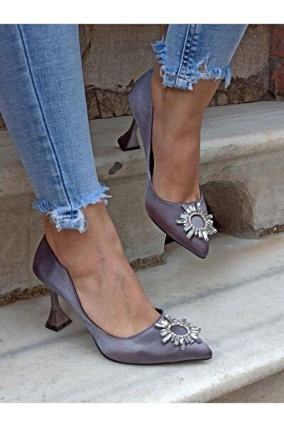 Platin Güneş Taş 9 Cm Kadın Topuklu Ayakkabı