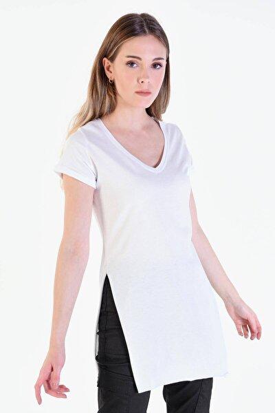 Kadın Beyaz V Yaka T-Shirt P0102 - U1 Adx-00007205