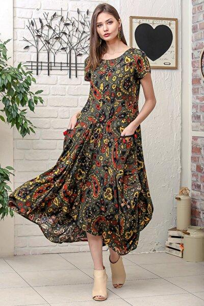 Kadın Haki Bohem Şal Desen Asimetrik Cepleri Püskül Detaylı Dokuma Elbise