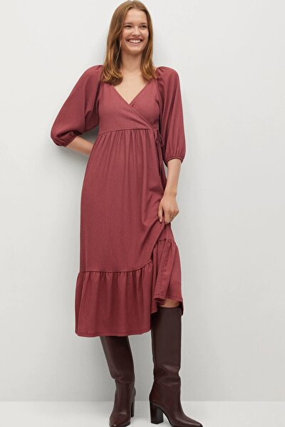 Kadın Bordo Kloş Model Anvelop Yakalı Elbise