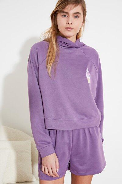 Mor Nakışlı Kapüşonlu Örme Pijama Takımı THMSS21PT0170