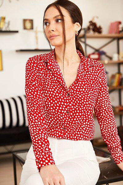 Kadın Kırmızı Damla Desenli Uzun Kol Gömlek ARM-21K001128