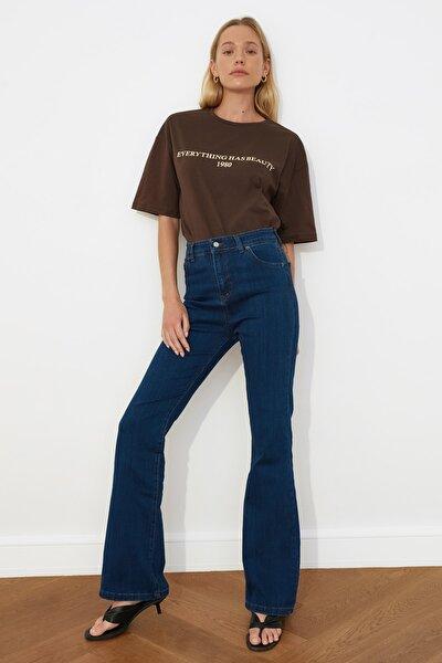 Lacivert Yüksek Bel Flare Jeans TWOSS21JE0443