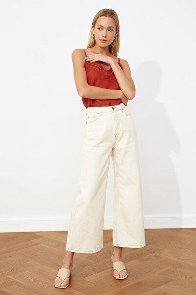 Ekru Yüksek Bel Culotte Jeans TWOSS21JE0322