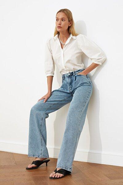 Mavi Pileli Yüksek Bel Wide Leg Jeans TWOSS21JE0240
