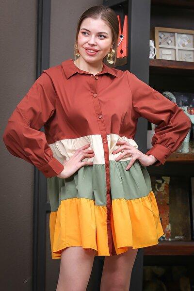 Kadın Kahve-Sarı-Yeşil Blok Renkler Kloş Gömlek Elbise M10160000EL95737