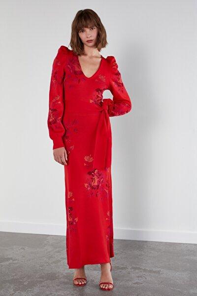 Çiçek Desenli Balon Kol Triko Elbise-multi