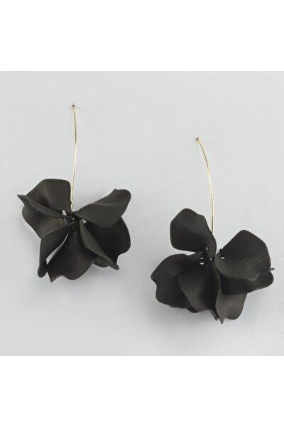 Siyah Renk Çiçek Figürlü Küpe
