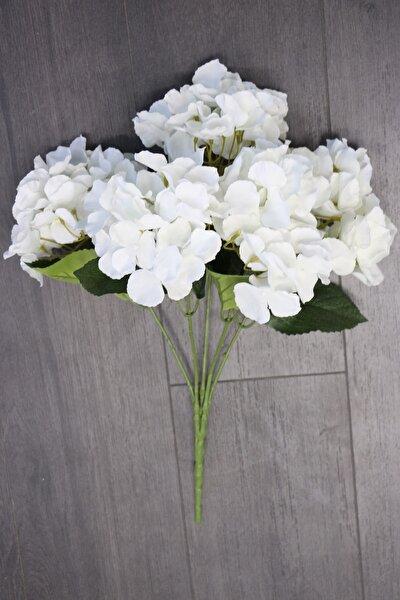 Yapay Çiçek Jumbo 5 Dal Ortanca Demeti Beyaz