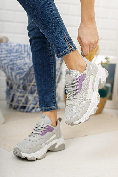 Kadın Gri Mor Bağcıklı Spor Ayakkabı