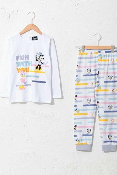 Minnie Mouse Kız Çocuk Optik Beyaz E5X Pijama Takımı