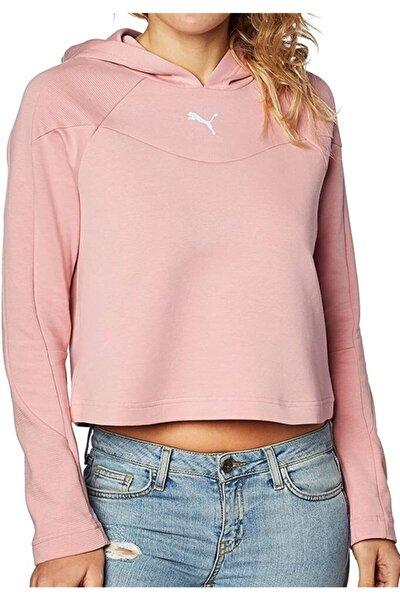 Kadın Kapüşonlu Crop Sweatshirt Rose Pembe