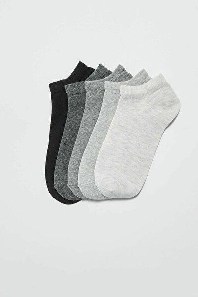 Kadın Açık Gri Melanj Patik Çorap