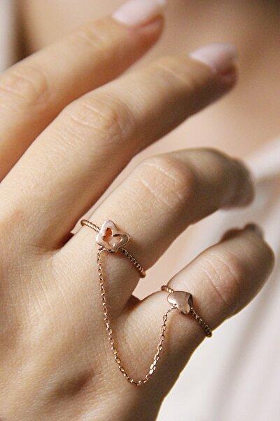 Kalp Ve Kelebek Figürlü Rose Gümüş Zincirli Çift Yüzük - Y019501
