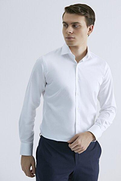 Erkek Slim Fit Beyaz Düz Gömlek