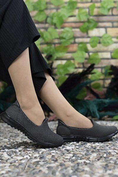 Kadın Gri Siyah Sneaker Ayakkabı 0012901
